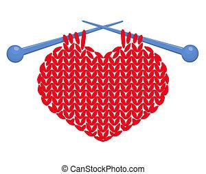 tricotado, coração, isolado