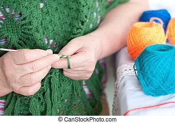 tricotado, mantô, mulheres, mãos
