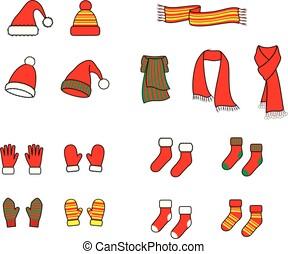 tricotado, mittens, meias, boné, echarpe, luvas