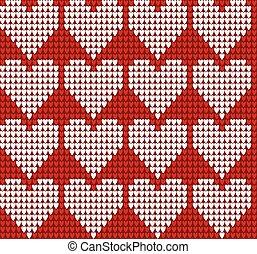 tricotado, Padrão, corações,  seamless, textura