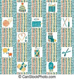 tricotado, padrão, tricotando, seamless, acessórios