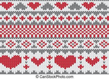 tricotado, padrão, vetorial, com, corações