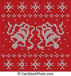 tricotado, suéter, dois, vermelho, sinos