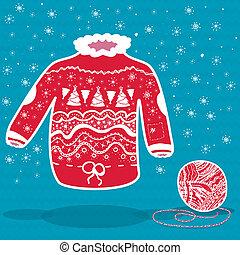 tricotado, suéter, natal, vermelho