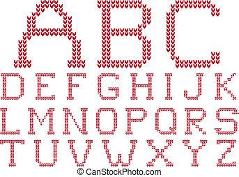 tricotado, vetorial, jogo, alfabeto