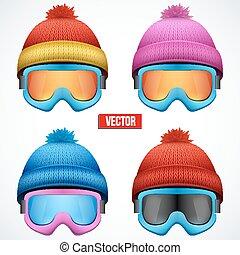 tricotado, woolen, boné, com, neve, goggles., inverno,...