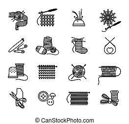 tricotando, ícones, cosendo, mão, embroidering, desenhado