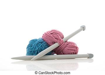 tricotando, cor-de-rosa, lã, azul