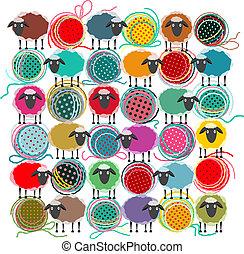 tricotando, fio, bolas, e, sheep, abstratos, quadrado,...