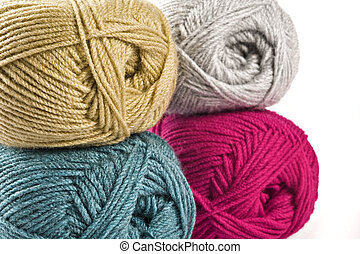 tricotando, fio, needle., woolen