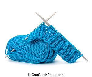 tricotando, fio, woollen, needlework, needle., accessories.