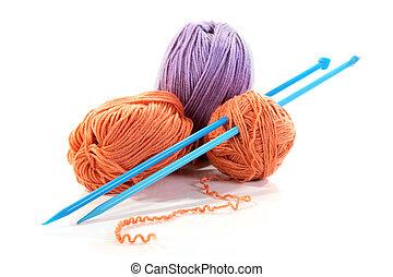 tricotando, fios, raios, isolado