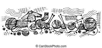 tricotando, lã, fios