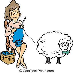 tricotando, mulher, lã