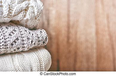 tricotando, pilha, roupas