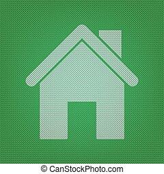 tricots, silhouette, illustration., o, vert, maison, blanc, icône