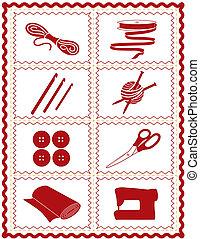 tricotter, couture, métier, crochet, icônes