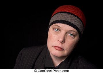 tricotter, femme, chapeau
