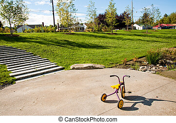 Tricycle and neighborhood park in Seattle