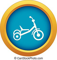 Tricycle icon blue vector isolated on white background for...