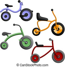 Tricycle icon set, cartoon style - Tricycle icon set....
