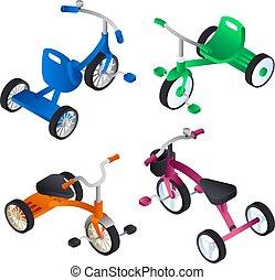 Tricycle icon set, isometric style