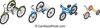 Tricycle icon set, isometric style - Tricycle icon set....