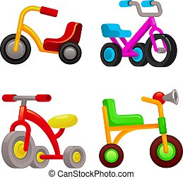 Tricycle icons set, cartoon style - Tricycle icons set....