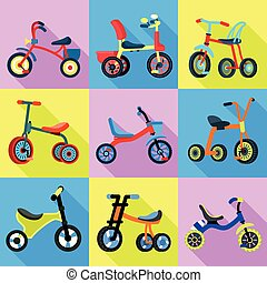 Tricycle icons set, flat style - Tricycle icons set. Flat...