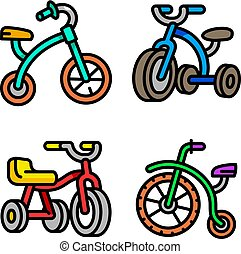 Tricycle icons set, outline style - Tricycle icons set....
