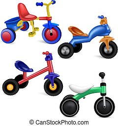 Tricycle icons set, realistic style - Tricycle icons set....