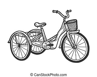 Tricycle trike bicycle sketch engraving vector illustration. T-shirt apparel print design. Scratch board style imitation. Hand drawn image.