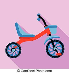 Tricycle with basket icon, flat style