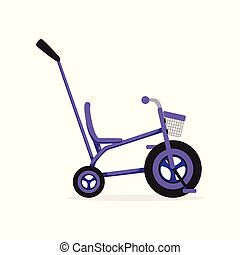 Tricycle with push handle, kids bicycle vector Illustration...