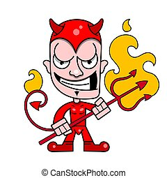 trident, かわいい, 小悪魔, 燃えている, ベクトル, 角, ロゴ