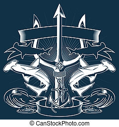 A sea-themed emblem featuring sharks, anchor and a trident