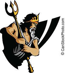 tridente, titán, corona, mascota