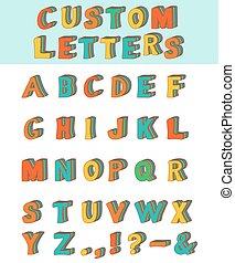 tridimensional, alfabeto, costume, layered, font., crianças