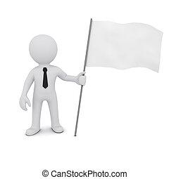 tridimensional, bandera, tenencia, pequeño, blanco, hombre