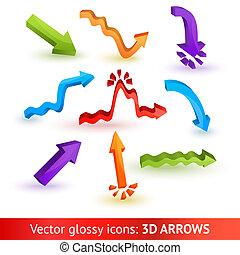 tridimensional, colorido, set., flechas, ilustración, vector