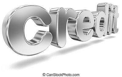 tridimensional, 'credit', palavra