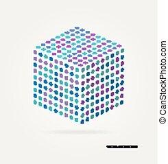 tridimensional, cubo, de, coloreado, puntos