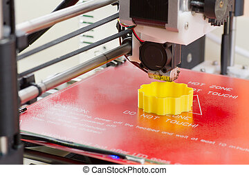 tridimensional, impresora, en acción