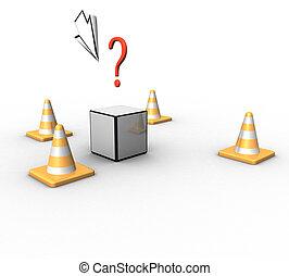 tridimensional, lascas, seta, cubo, e, um, marca pergunta, ligado, um, fundo branco