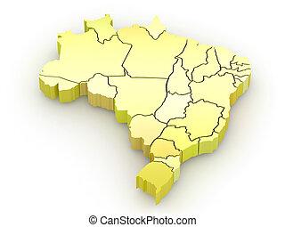 tridimensional, mapa, de, brazil., 3d