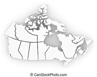 tridimensional, mapa, de, canada., 3d