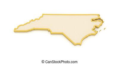 tridimensional, mapa, de, norte, carolina., usa.