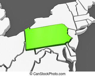 tridimensional, mapa, usa., pennsylvania.