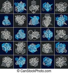 tridimensionnel, ensemble, designs., résumé, formes, vecteur