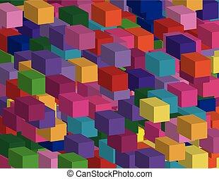 tridimensionnel, isometric., résumé, effet, illustration, carrés, vecteur, fond, géométrique, 3d
